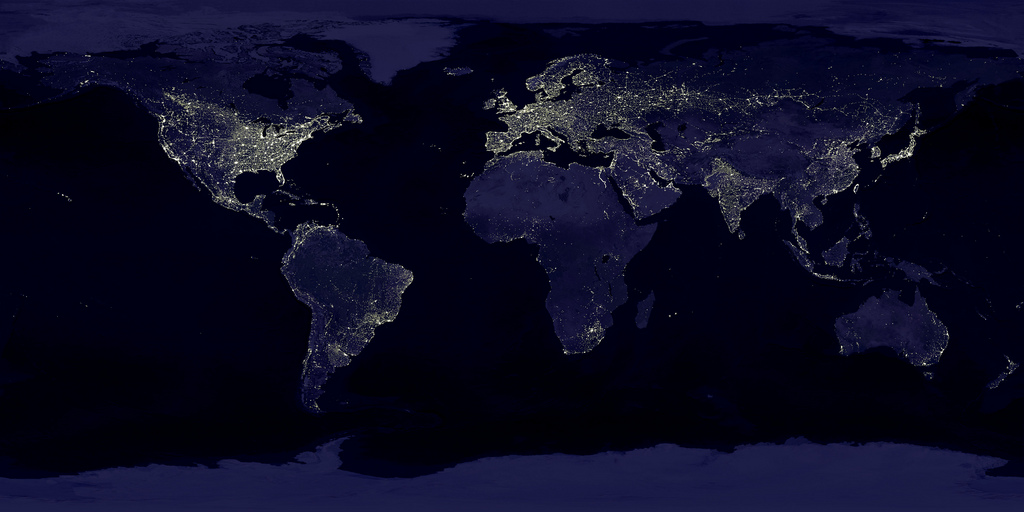 Image of the globe with the lights on