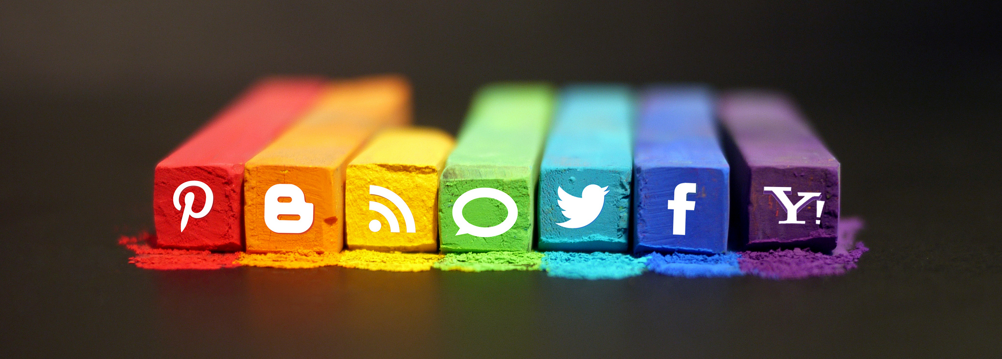 Icons of the most popular social media in a colourful background